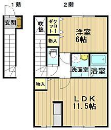 パークサイド早稲田 B[2階]の間取り