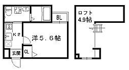 阪急京都本線 大宮駅 徒歩3分の賃貸マンション 2階1Kの間取り