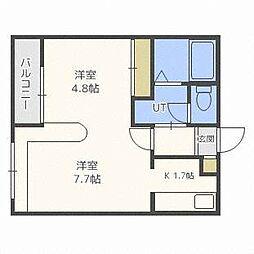 北海道札幌市豊平区平岸四条18丁目の賃貸マンションの間取り