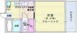 DSハイツ桜ヶ丘 2階1DKの間取り