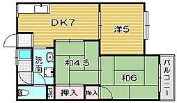 大阪府高槻市若松町の賃貸アパートの間取り