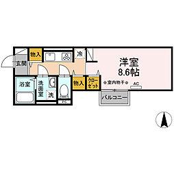 小田急小田原線 海老名駅 徒歩13分の賃貸アパート 2階1Kの間取り