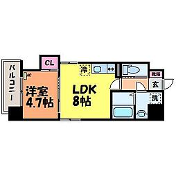 愛媛県松山市本町5丁目の賃貸マンションの間取り