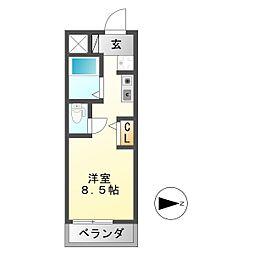 シャトー岐大 B[2階]の間取り