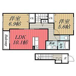 JR東金線 東金駅 徒歩9分の賃貸アパート 2階2LDKの間取り