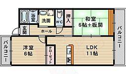 北大阪急行電鉄 桃山台駅 徒歩13分の賃貸マンション 4階2LDKの間取り