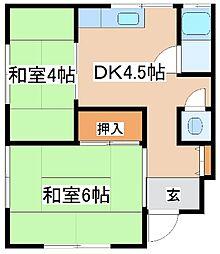 のぼる荘[2階北号室]の間取り