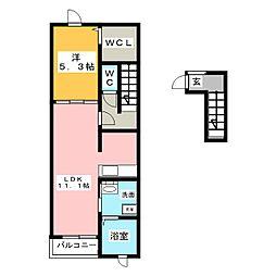 愛知県北名古屋市井瀬木五反地の賃貸アパートの間取り