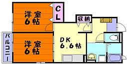 福岡県福岡市東区青葉7丁目の賃貸アパートの間取り
