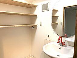 洗面スペースには収納棚もありタオルなどが置けますね