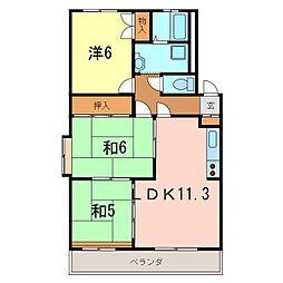 岡崎市 ワンスリーマンション[301号室]の間取り