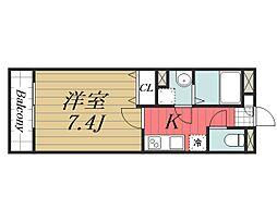 京成本線 公津の杜駅 徒歩8分の賃貸マンション 1階1Kの間取り