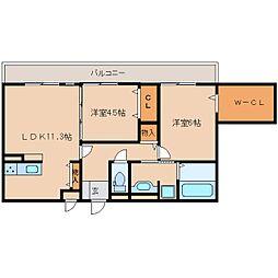 奈良県奈良市三条宮前町の賃貸アパートの間取り