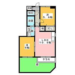 愛知県清須市一場御園の賃貸アパートの間取り