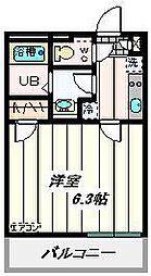 JR東北本線 東大宮駅 徒歩6分の賃貸マンション 2階1Kの間取り