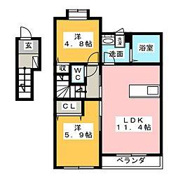 仮)H・K賃貸アパート6期A棟[2階]の間取り