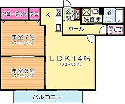福岡県北九州市小倉北区妙見町の賃貸アパートの間取り