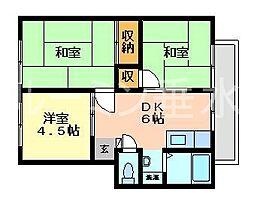 兵庫県神戸市垂水区星陵台8丁目の賃貸アパートの間取り