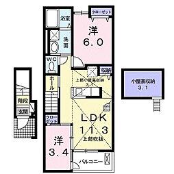 大阪府和泉市内田町2丁目の賃貸アパートの間取り