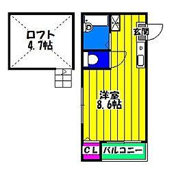 福岡県福岡市博多区博多駅南4の賃貸アパートの間取り