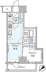 東京メトロ銀座線 赤坂見附駅 徒歩7分の賃貸マンション 2階1LDKの間取り