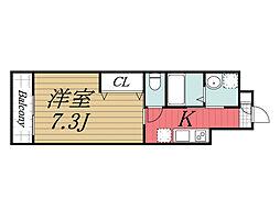 JR総武線 千葉駅 徒歩13分の賃貸マンション 1階1Kの間取り
