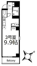 ブリティッシュクラブ鶴見 8階ワンルームの間取り