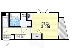 恵比寿YKマンション 2階1Kの間取り
