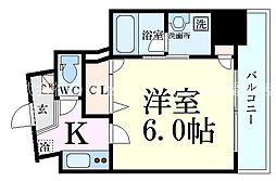 Luce Shinfukushima(ルーチェ新福島) 7階1Kの間取り