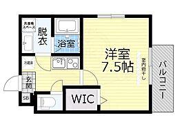 京阪本線 森小路駅 徒歩6分の賃貸マンション 1階1Kの間取り