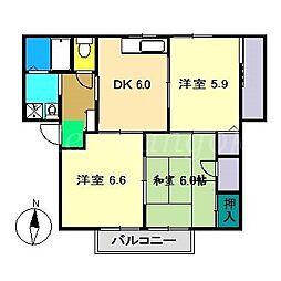 シャーメゾン橋田[2階]の間取り