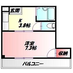 サンファミリー守口II 5階1Kの間取り