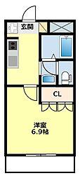愛知県豊田市深見町広表の賃貸アパートの間取り