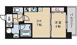セイワパレス京町堀 5階1DKの間取り