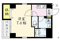 JR中央本線 国分寺駅 徒歩9分の賃貸マンション 3階1Kの間取り
