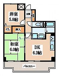 大阪府東大阪市吉松2丁目の賃貸マンションの間取り