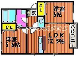 岡山県岡山市北区平野の賃貸アパートの間取り