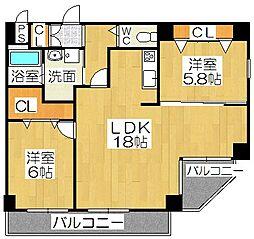 ペコラ広小路 5階2LDKの間取り