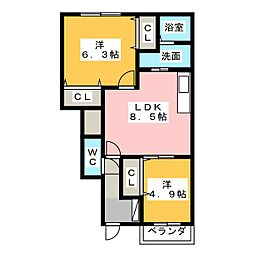 ニューアーバン B[1階]の間取り