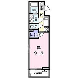 ディアコート 宮脇(アパート) 2階1Kの間取り