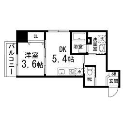 カーサヴェルデ仙台西公園 5階1DKの間取り