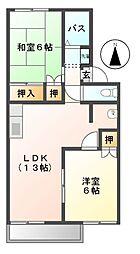 愛知県北名古屋市沖村沖浦の賃貸アパートの間取り