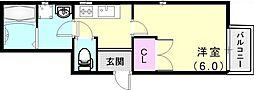 神戸高速東西線 西代駅 徒歩3分の賃貸アパート 2階1Kの間取り