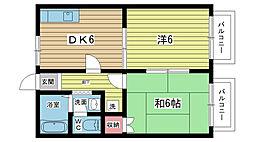 大阪府豊中市柴原町3丁目の賃貸アパートの間取り