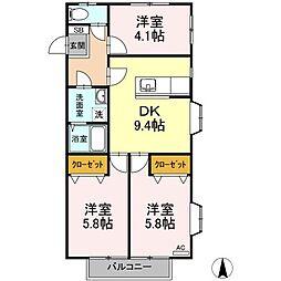 東京都日野市三沢1丁目の賃貸アパートの間取り