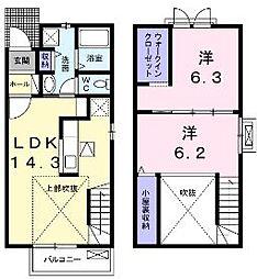 香川県丸亀市郡家町の賃貸アパートの間取り