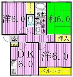 千葉県松戸市六高台2丁目の賃貸アパートの間取り