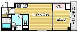 大阪府茨木市末広町の賃貸マンションの間取り