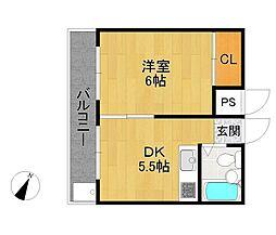 兵庫県伊丹市北野4丁目の賃貸マンションの間取り