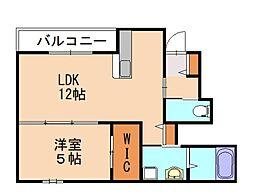 JR鹿児島本線 箱崎駅 徒歩14分の賃貸アパート 1階1LDKの間取り